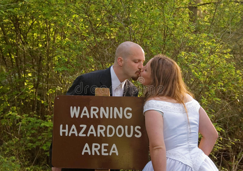 Wedding Couple Hazardous Area Sign royalty free stock image