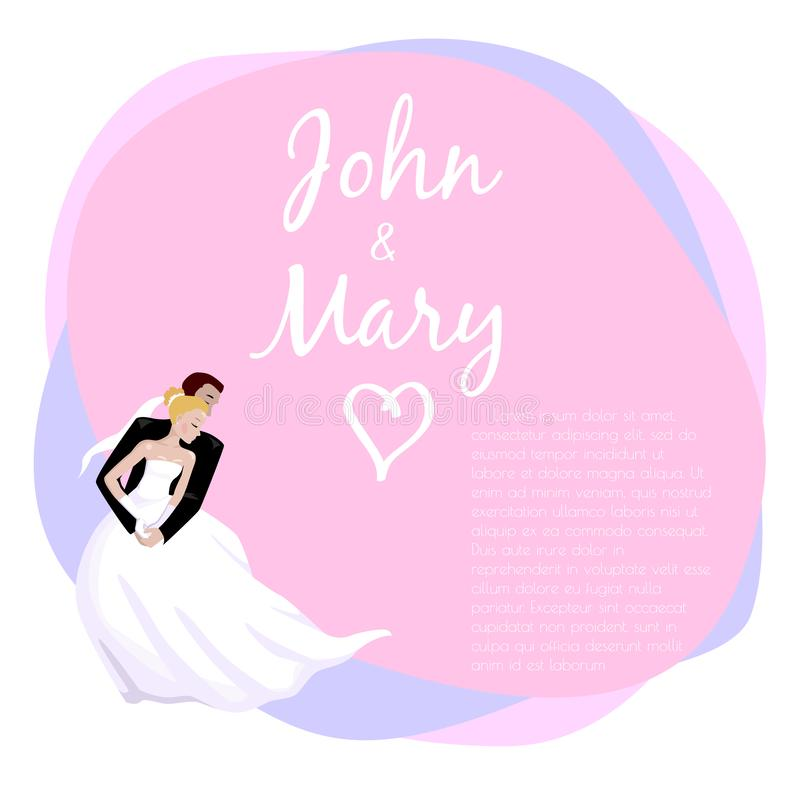 Wedding couple hugging and dancing. Vector illustration. Couple in love hugging on the wedding. Romance marriage dancing. Bride and groom. Design for wedding day stock illustration