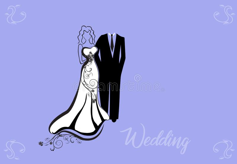 Wedding couple invitation card royalty free illustration