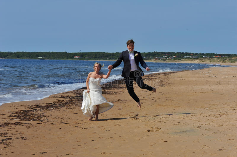 Download Wedding Couple Jumping On The Beach. Stock Image - Image: 24772925