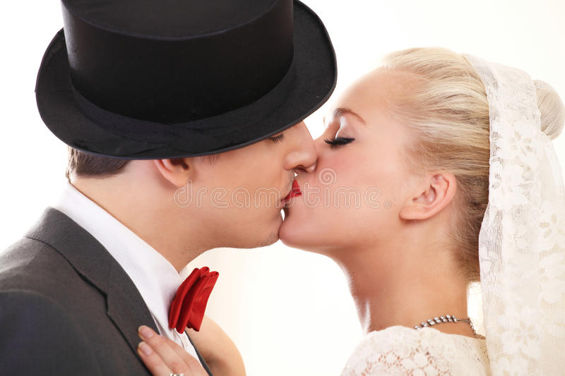 Wedding couple kiss stock image