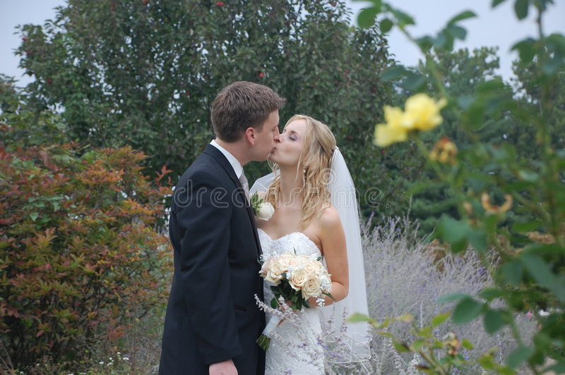 Download Wedding Couple Kissing stock photo. Image of roses, pathway - 6503698