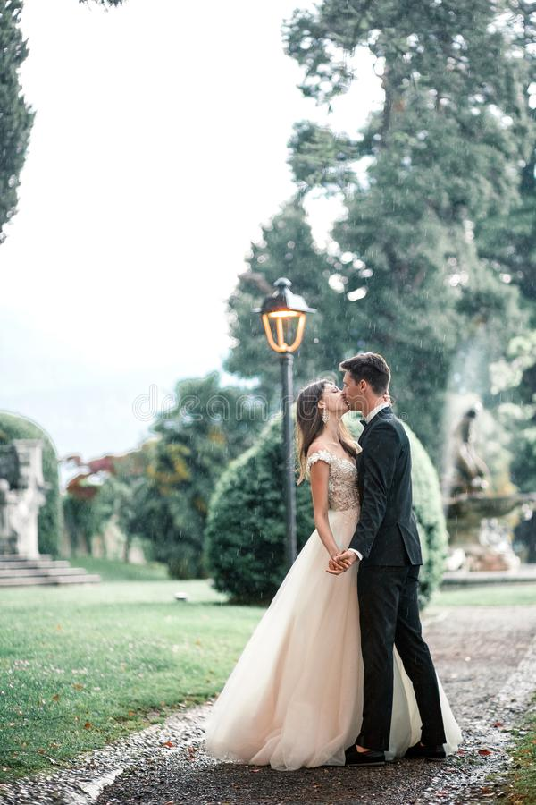 Wedding couple kissing in the park in the rain royalty free stock photo