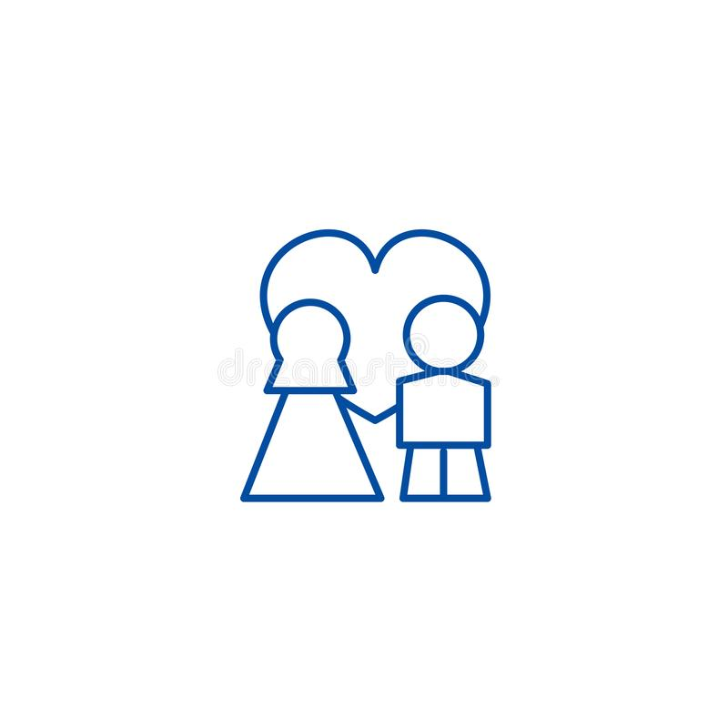Wedding couple with love in heart line icon concept. Wedding couple with love in heart flat vector symbol, sign, outline royalty free illustration