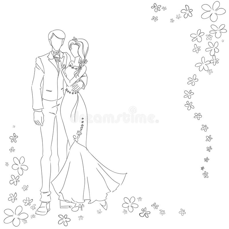 Wedding couple monochrome. Man and woman drawing by lines. Monochrome vector image. Themes are wedding, love, relations vector illustration