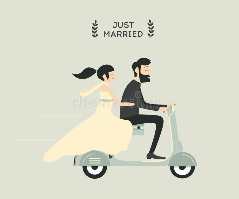 Wedding couple on motorcycle royalty free illustration