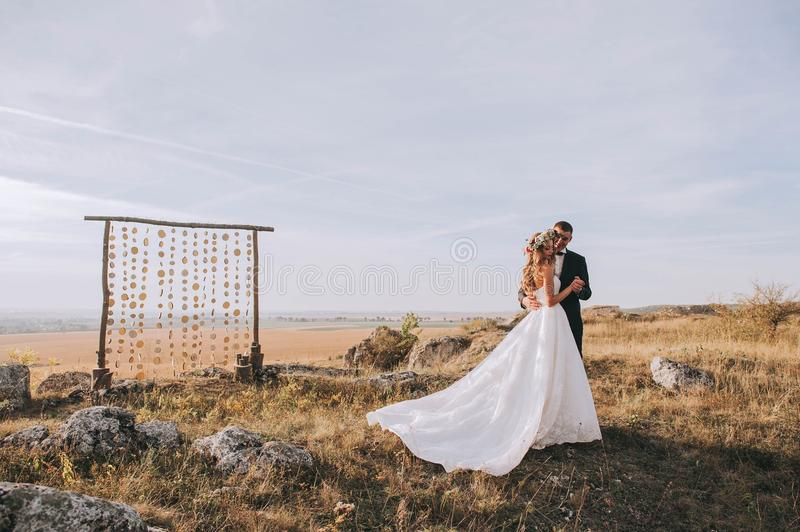 Wedding couple in the mountains royalty free stock images