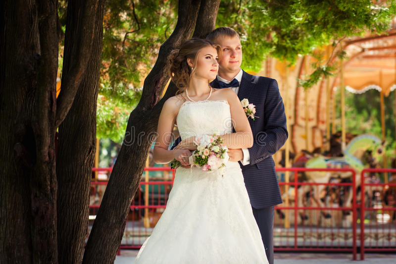 Wedding couple near carousel and tree stock image