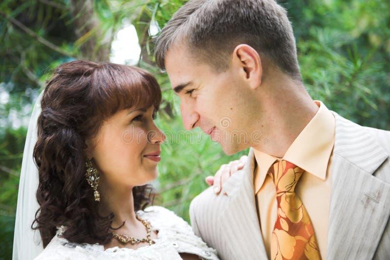Wedding couple outdoor. Beautiful young wedding couple outdoor stock photo