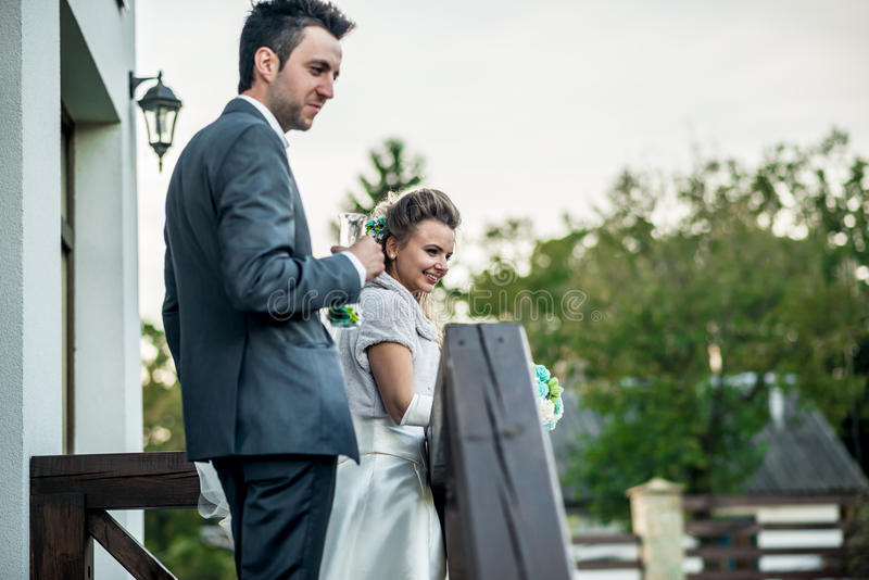 Wedding couple outdoor. Wedding photo, groom and bride outdoor stock photo