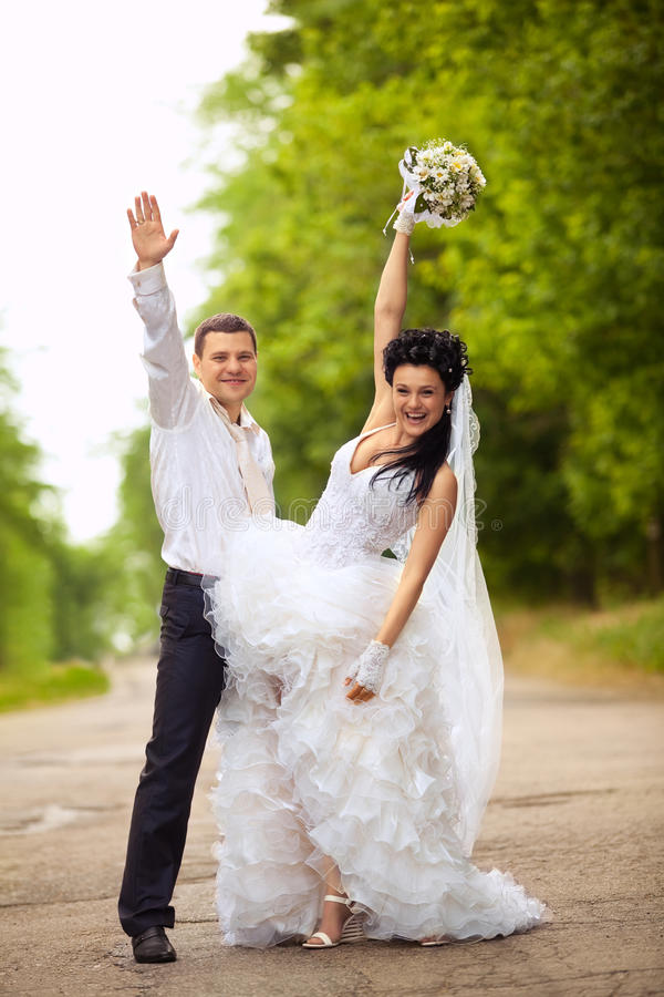 Wedding couple at a par