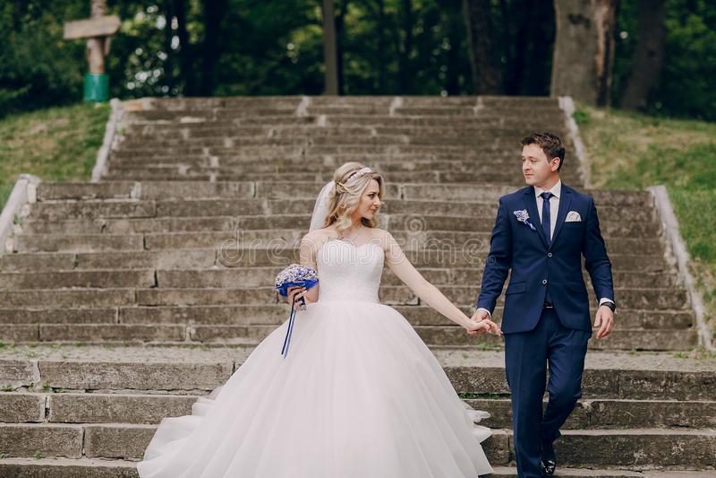 Wedding couple Park stock photography