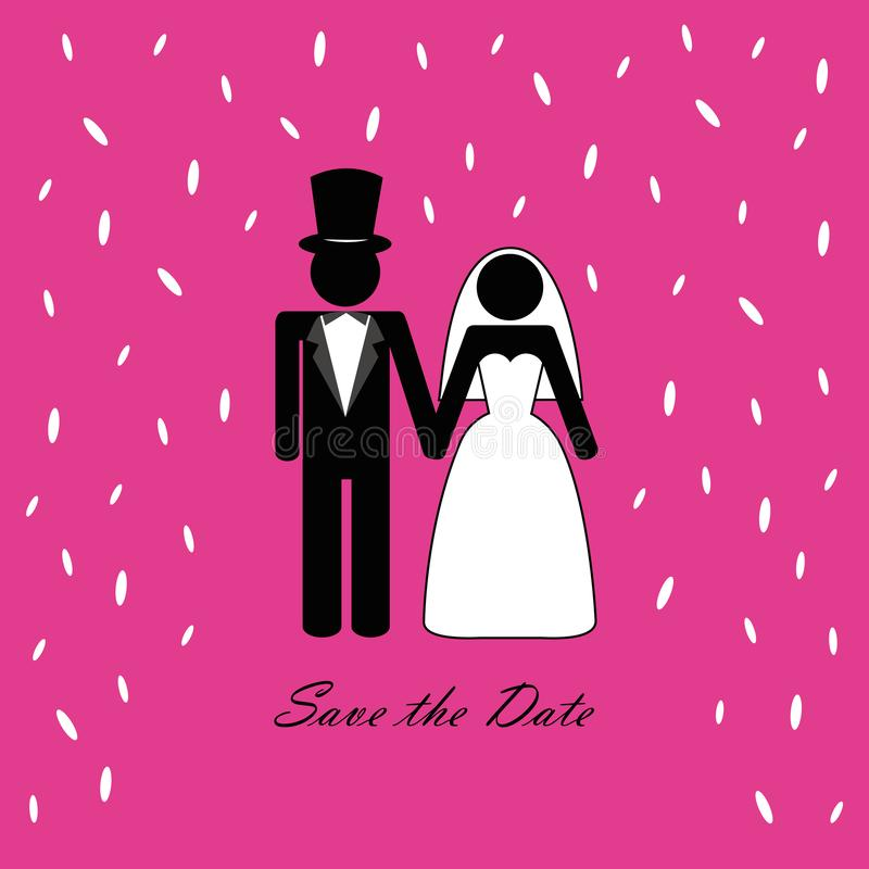 Wedding couple pictogram with rice pink background. Vector illustration stock illustration