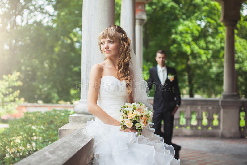Wedding couple. Portrait of beautiful, joung wedding couple royalty free stock images