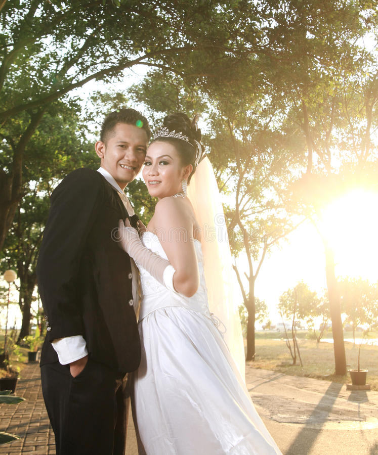 Download Wedding Couple Posing Outdoor Stock Photo - Image: 27370580