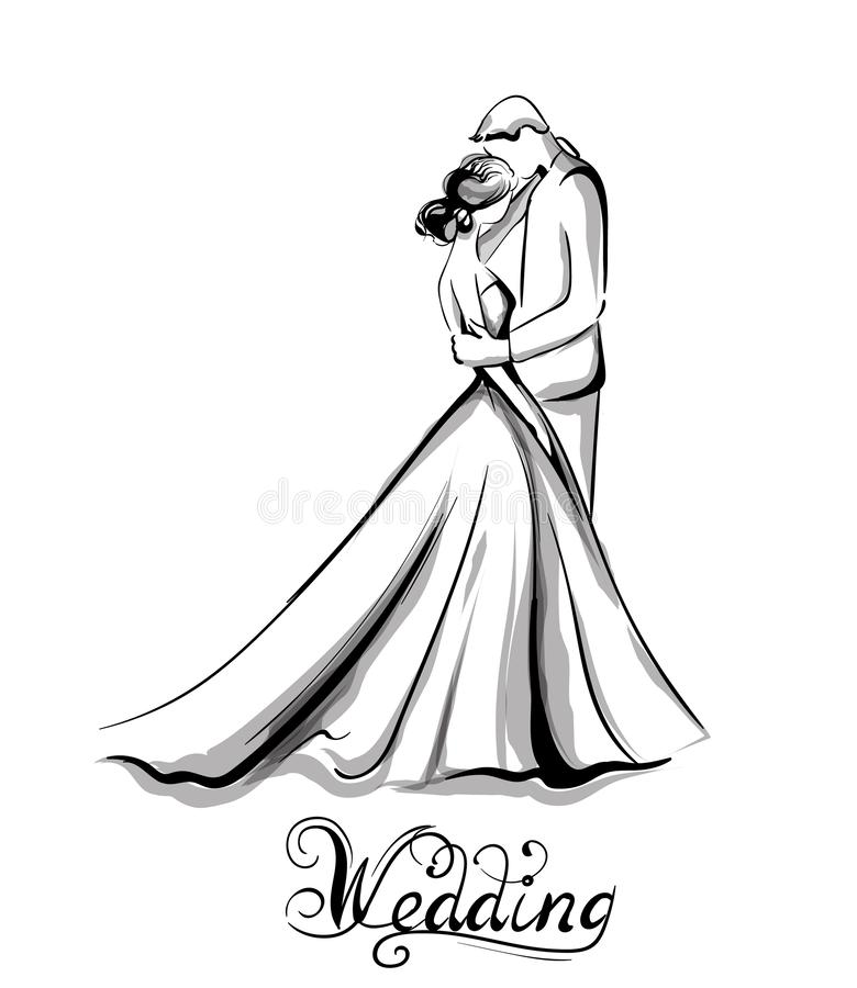 Wedding couple silhouette Vector line art. Beautiful bride and groom. Template for design cards vector illustration