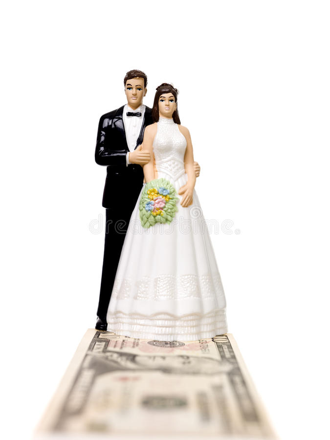 Free Wedding Couple Standing On A Dollar Bank Note Stock Photos - 13956003