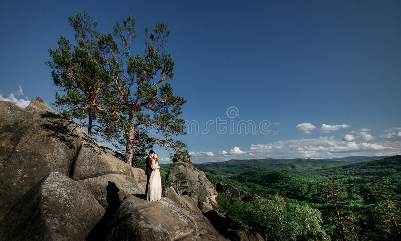 Wedding couple stands on the rocks over the beautiful landscape royalty free stock photos