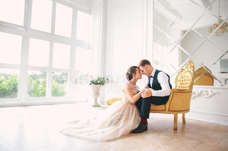 Wedding couple on the studio. Wedding day. Happy young bride and groom on their wedding day. Wedding couple - new family. Man kissing his wife royalty free stock photos