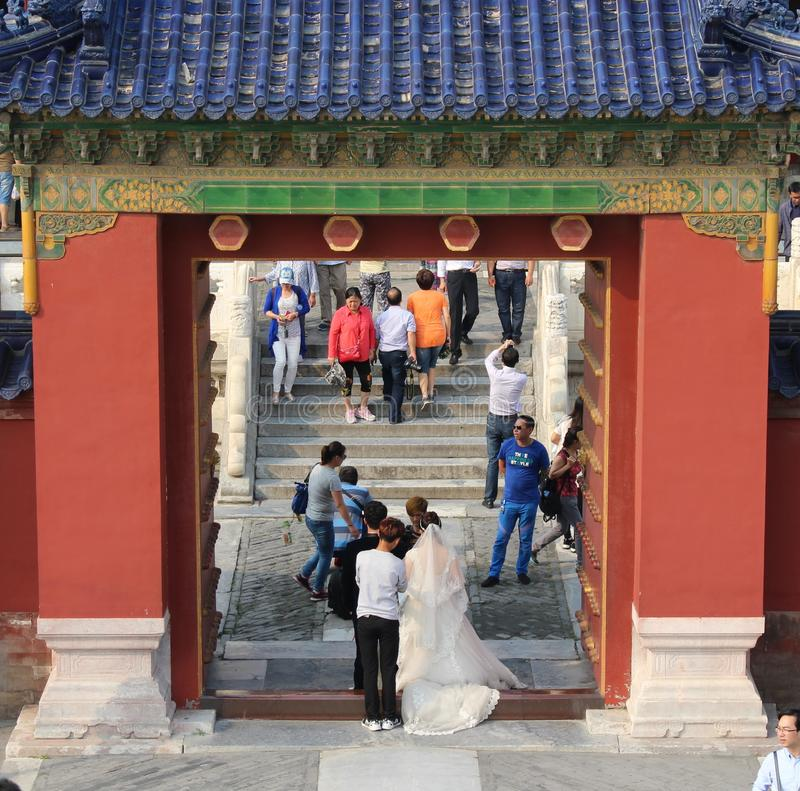 Wedding couple at the Temple of Heaven, Beijing royalty free stock image