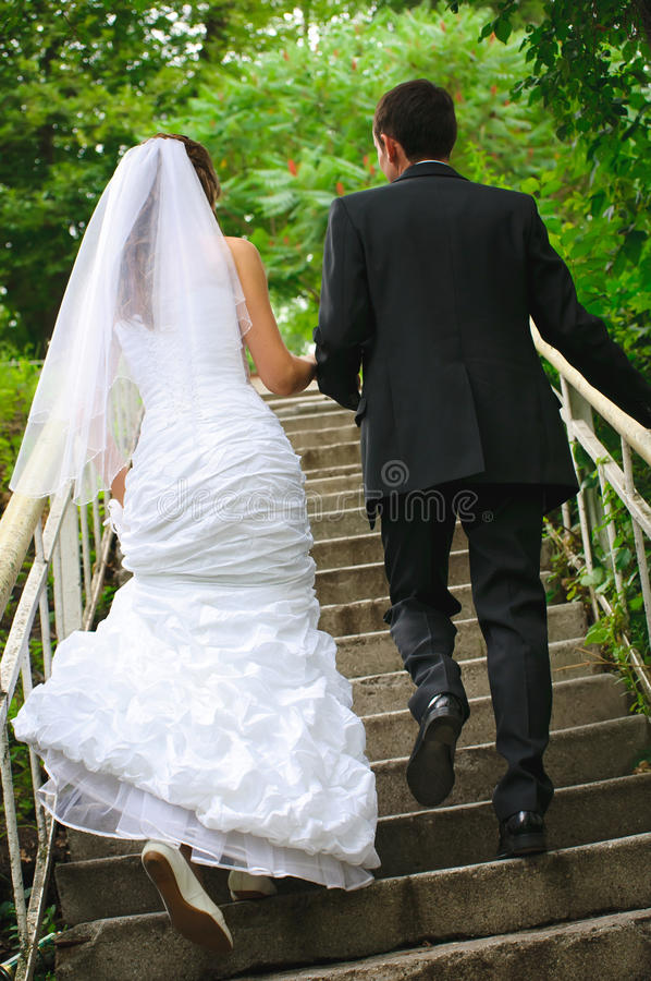 Wedding couple walk up to stairs and holding hands. backview royalty free stock photo