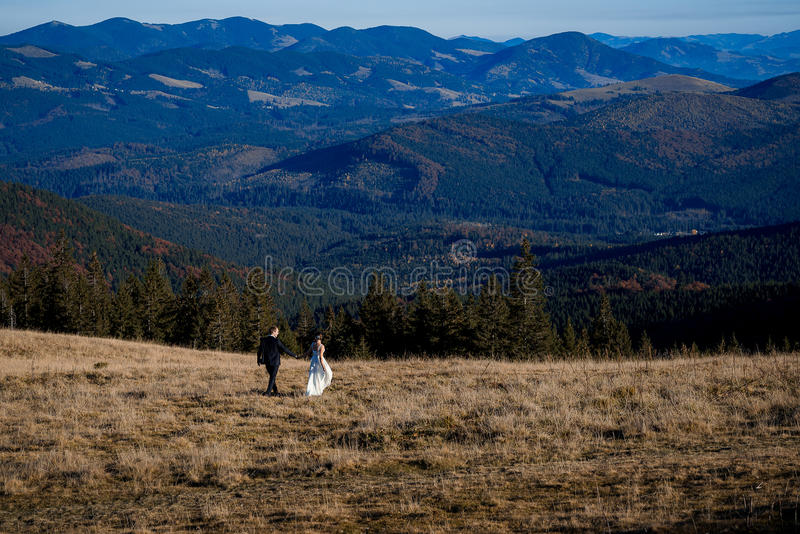 Wedding couple walking on the field. Fascinating mountain landscape background.  stock photo