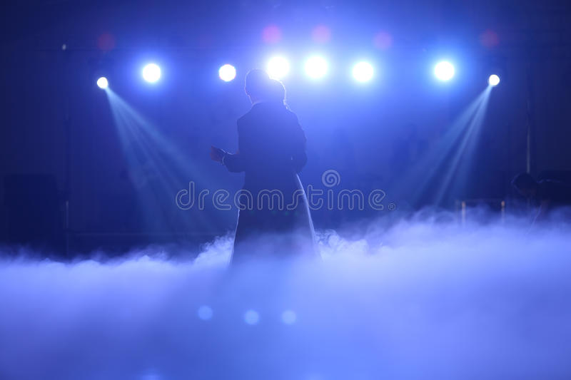 Wedding couple waltz. With party smoke and lights royalty free stock images