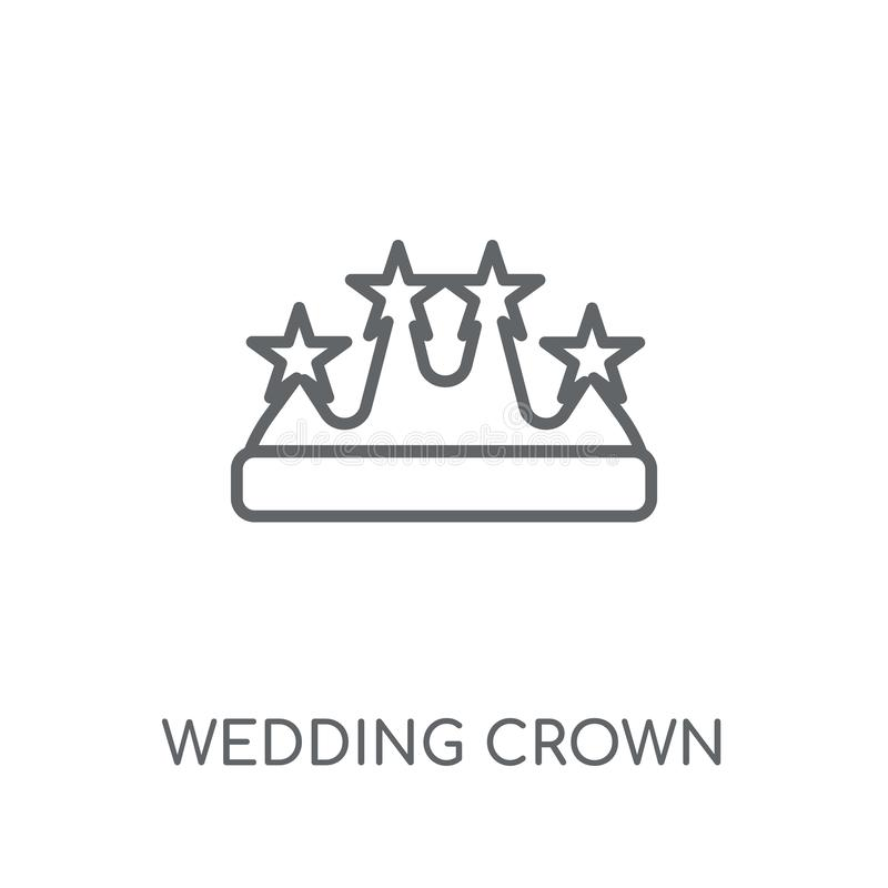 Wedding Crown linear icon. Modern outline wedding Crown logo con. Cept on white background from Birthday party and wedding collection. Suitable for use on web royalty free illustration