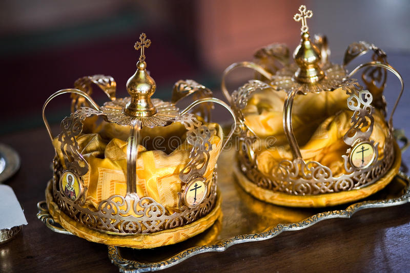 Wedding crowns. Two wedding crowns in the church closeup royalty free stock photography
