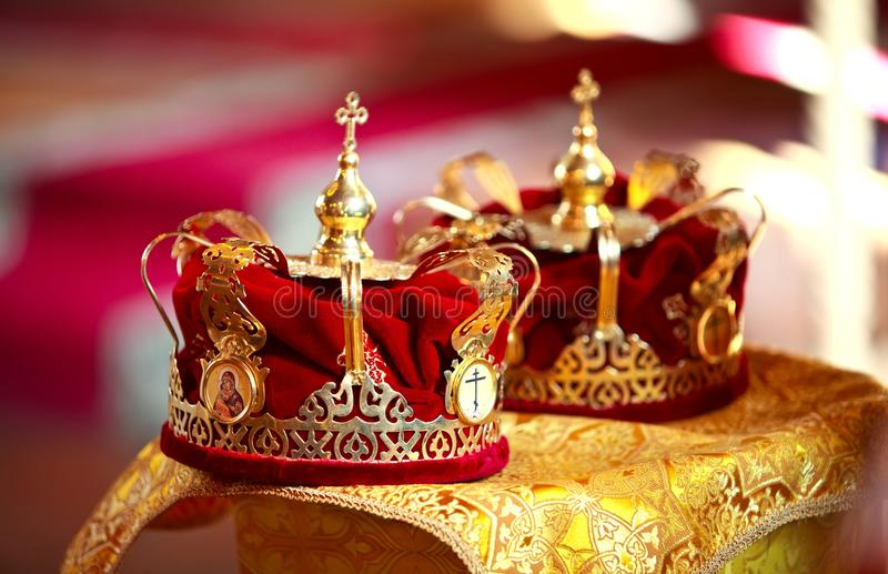 Wedding crowns in the church. Two wedding crowns in the church stock image