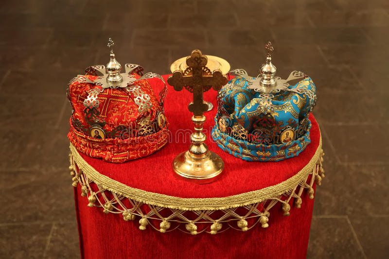 Wedding crowns in Orthodox church. Close up view at wedding crowns in Orthodox church royalty free stock photography