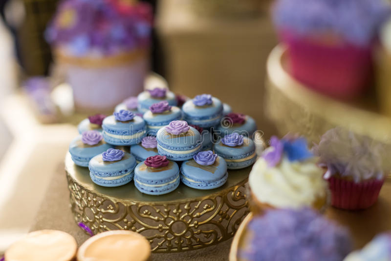 Wedding cupcakes. Wedding cakes at a wedding party royalty free stock photos