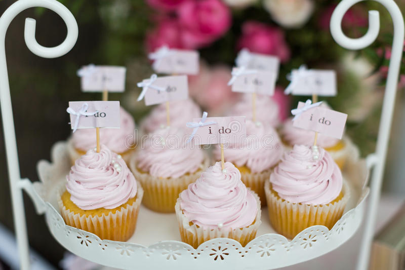Wedding cupcakes. On wedding party royalty free stock images