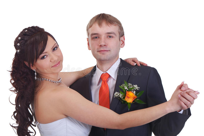 Wedding dance. Newlyweds are dancing their first dance stock photos