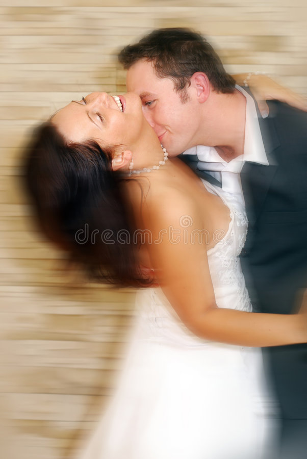 Wedding dance. Couple dancing on their wedding day stock photo