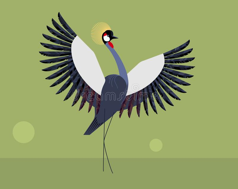 The wedding dance of the crowned crane stock illustration