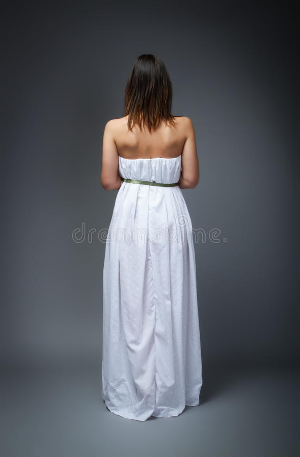Wedding day back side for wife. Person emotion in a wedding day royalty free stock photo
