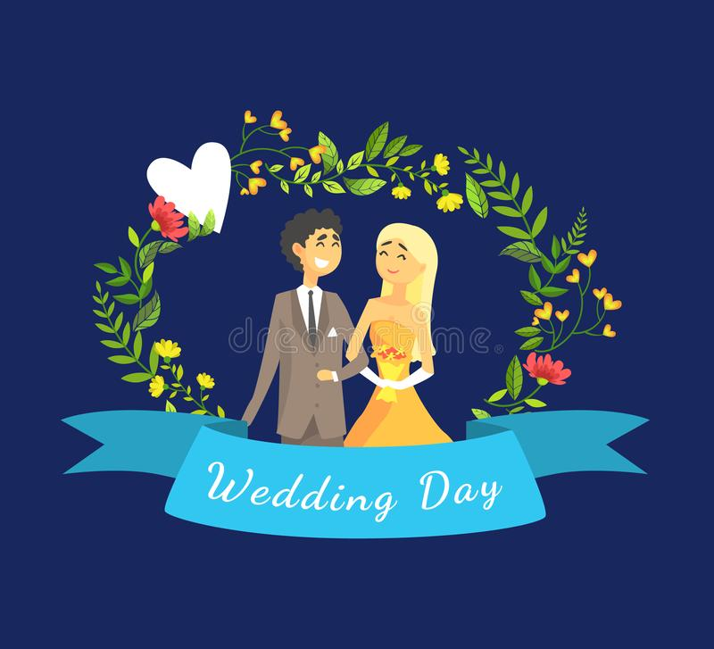 Wedding Day Banner Template with Happy Just Married Couple, Bride and Groom Standing Against Floral Arch Vector vector illustration