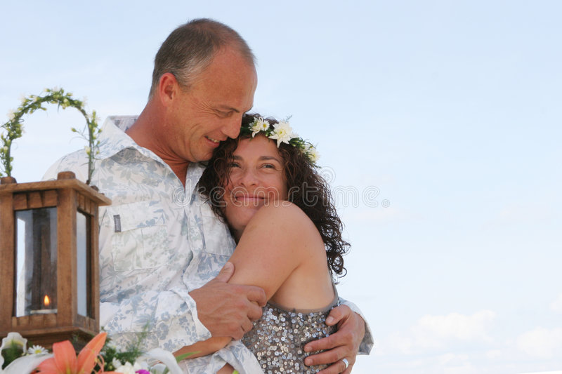 Wedding day on the beach royalty free stock images