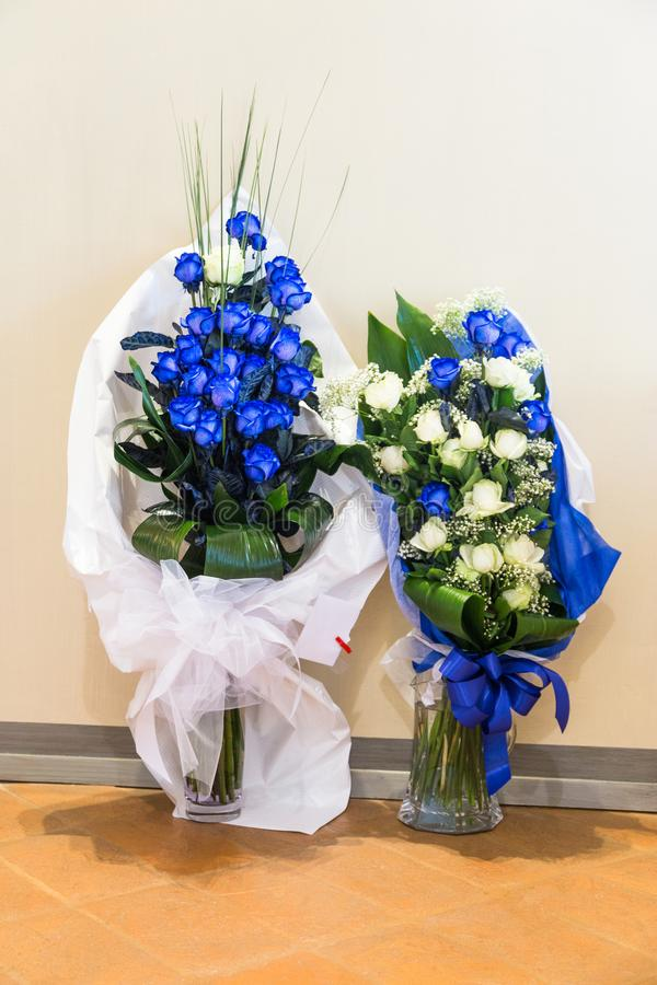 Wedding day and Bridal bouquets for bride. Wedding flowers and Bridal bouquets with blue roses for bride stock image