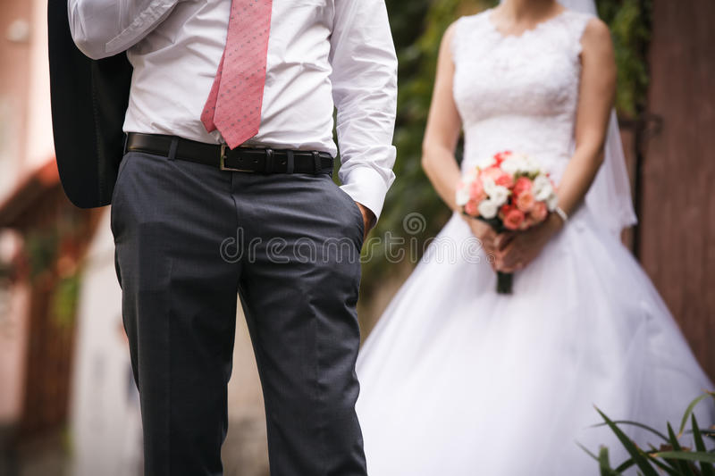 Wedding day. Bride and groom. royalty free stock photography