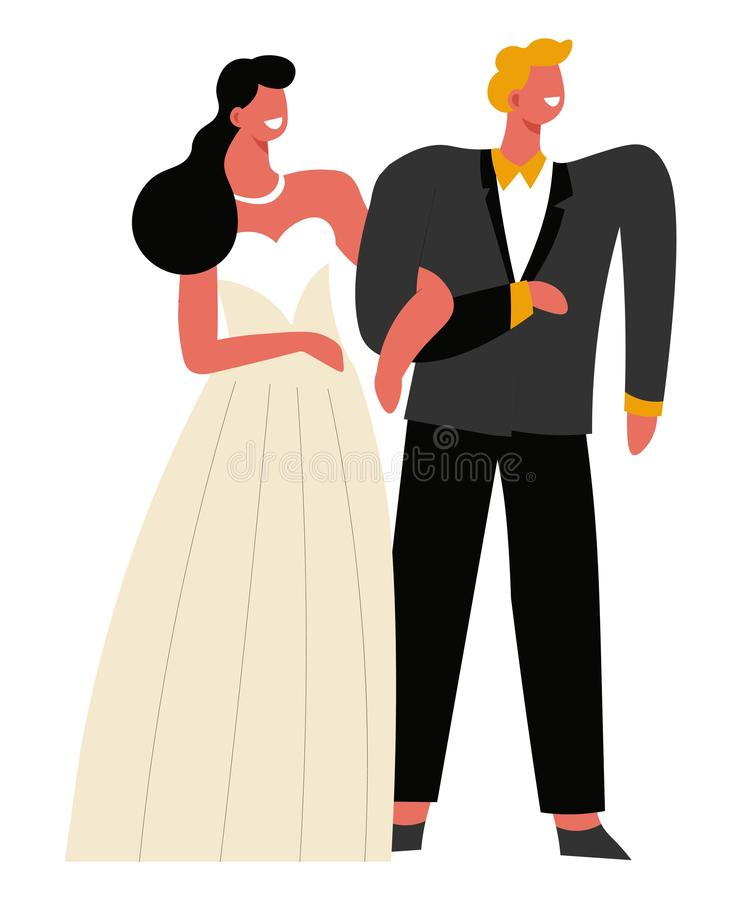 Wedding day, bride and groom holding hands, marriage ceremony. Bride and groom, wedding day and marriage ceremony isolated characters vector. Woman in gown and vector illustration