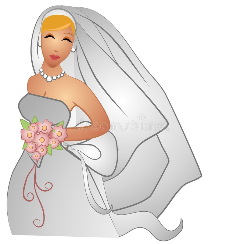 Wedding Day Bride Smiling. A clip art illustration of a beautiful caucasian bride with blonde hair in her gown with veil, bouquet and a smile on her face vector illustration