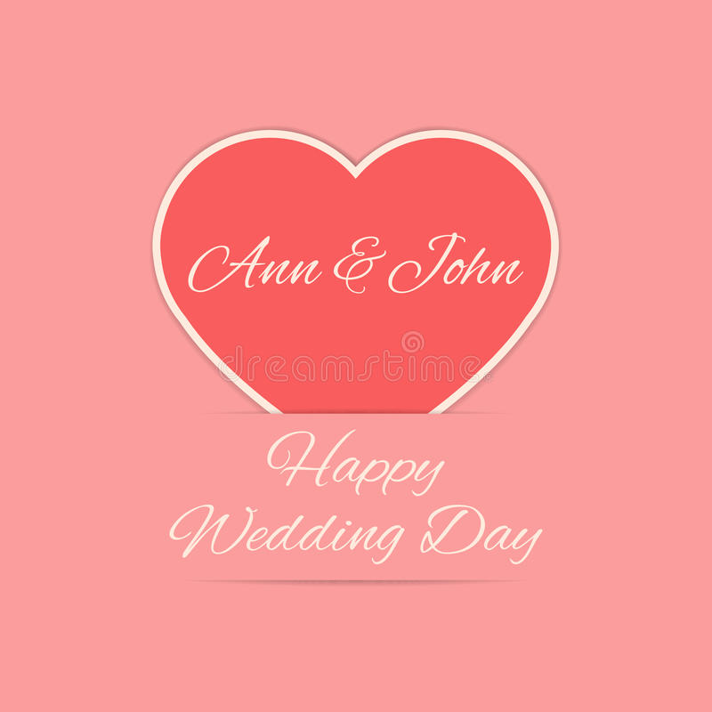 Wedding Day Card With Red Heart Stock Vector