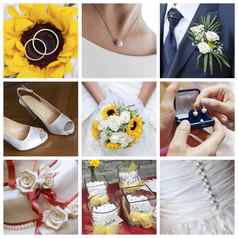 Wedding day collage. A collage about wedding day royalty free stock photos