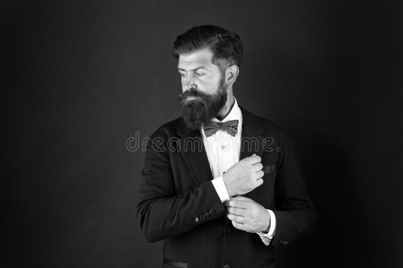 Wedding day concept. Stylish groom. Elegant collection. Neat and tidy. Stylist fashion expert. Suit style. Fashion. Trends for groom. Groom bearded hipster man stock photo