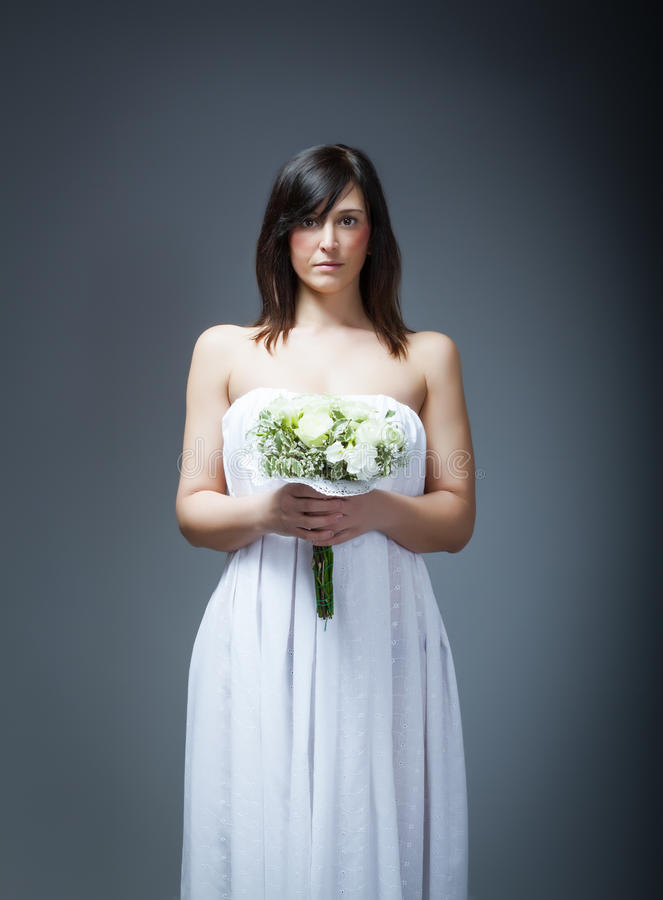 Wedding day and flowers. Emotions and expressions for person royalty free stock image