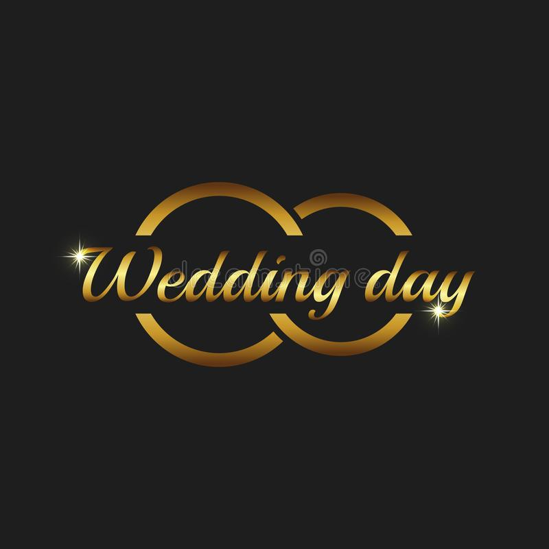 Wedding day greeting card mockup, couple gold rings on the black background, invitation template royalty free illustration