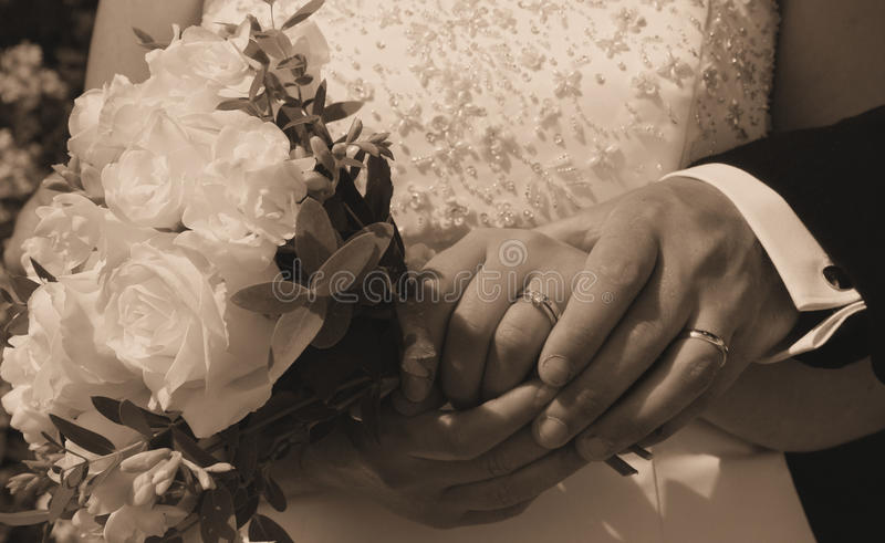 Download Wedding Day Hands, Rings And Bouquet Stock Image - Image: 14203239