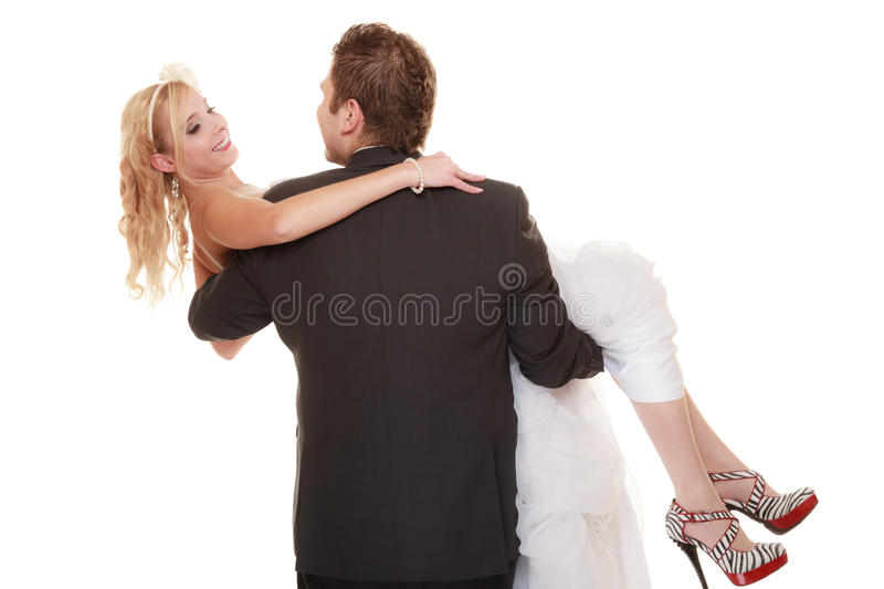 Wedding day. happy bride and groom on white stock image